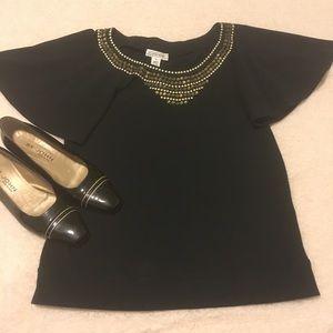 St. John Sport black beaded blouse